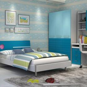 儿童家具电脑椅书桌书柜儿童衣柜儿童房床头柜墙面壁纸现代风格儿童卧室背景墙装修效果图现代风格衣柜门图片