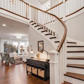 歐式風格混搭風格客廳富裕型140平米以上實木樓梯裝修效果圖