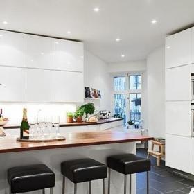 欧式风格公寓舒适富裕型100平米厨房吧台橱柜设计图纸效果图