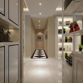 120㎡三居現代簡約風格走廊地面拼花裝修效果圖現代簡約風格家居擺件圖片