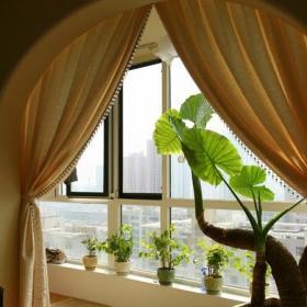 田园家居客厅阳台隔断窗帘效果图