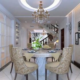 歐式餐廳吊頂照片墻簡歐風格餐桌椅圖片效果圖大全