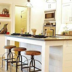 现代家庭厨房吧台效果图