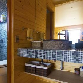 日式家居卫生间洗手台隔断装修设计效果图