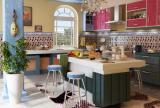 门抽屉柜餐台置物架开放式厨房吧台橱柜马赛克背景墙北欧风格厨房装修效果图北欧风格吧台凳图片