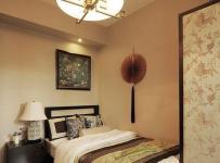 中式古典三居室卧室背景墙装修效果图欣赏
