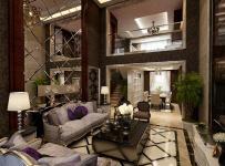楼梯吊顶复式楼280平米欧式风格客厅沙发背景墙装修效果图复式楼280平米欧式风格茶几图片