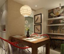 中式風格二居室餐廳背景墻裝修效果圖欣賞
