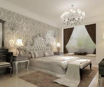 現代簡約三居室臥室背景墻裝修效果圖