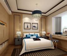 中式風格三居室臥室背景墻裝修圖片效果圖