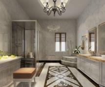 現代簡約三居室衛生間背景墻裝修效果圖欣賞