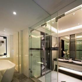 复式精装混搭卫浴瓷砖隔断装修设计效果图