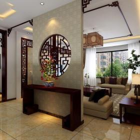 中式古典三居室客廳隔斷裝修效果圖