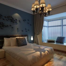 吊灯背景墙飘窗床头柜简约风格卧室墙面装饰装修效果图简约双人床图片