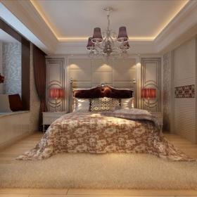 吊灯门床头灯床头柜窗帘吊顶衣柜床头柜450㎡跃层简约欧式风格卧室圆形吊顶装修效果图简约欧式风格双人床
