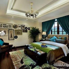雙人床墻面裝飾家具地毯窗簾美式地毯臥室窗簾大戶型別墅臥室照片墻裝修圖片效果圖大全