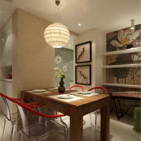中式风格二居室餐厅背景墙装修效果图欣赏