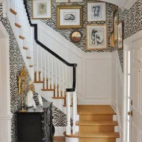 白色樓梯簡約客廳背景墻地中海別墅躍層雅致的歐式風格過道效果圖