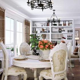 雕花隔斷酒柜110㎡三居餐廳餐桌餐椅歐式田園餐桌套裝效果圖