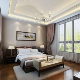 中式古典別墅臥室背景墻裝修效果圖