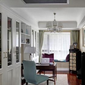 簡約美式四居室書房飄窗裝修效果圖