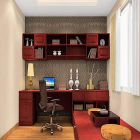 臺燈家居擺件家具榻榻米地臺書桌椅凳新中式風格書房墻面壁紙裝修效果圖新中式風格組合書柜圖片