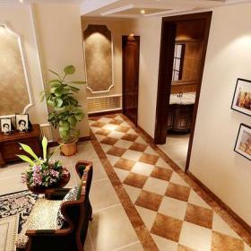 美式風格走廊地面細節裝修效果圖