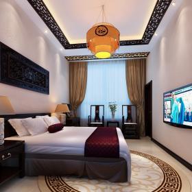 臺燈雙人床家具墻面裝飾床頭柜椅凳簡約中式大戶型小臥室側面環境裝修效果圖