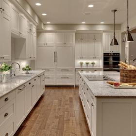 白色北歐別墅廚房家居收納超強收納功能的櫥柜裝修效果圖