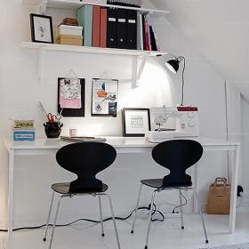 二手房90㎡現代書桌家居收納精致閣樓書房空間效果圖