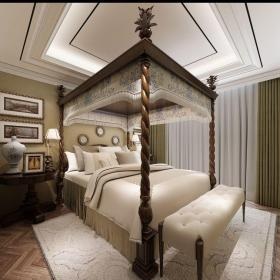混搭风格别墅卧室背景墙装修效果图欣赏