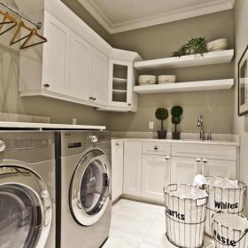 白色70㎡櫥柜家居收納現代風格的潔白廚房裝修效果圖