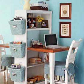 家居收納田園小戶型書桌書柜注重實用的迷你小書房效果圖欣賞