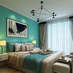 現代簡約三居室臥室照片墻裝修效果圖欣賞