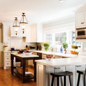 歐式100㎡吧臺寬敞的開放式廚房裝修效果圖