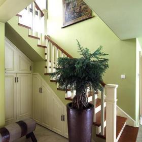 美式別墅樓梯間儲物柜效果圖