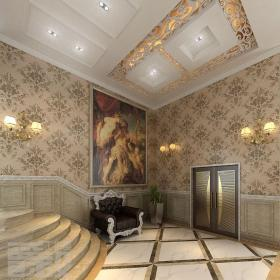 歐式別墅樓梯口玄關裝修效果圖