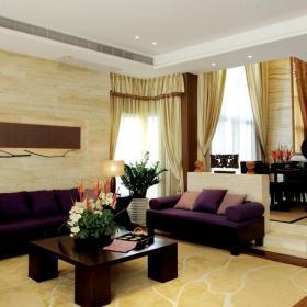 东南亚风格客厅地面瓷砖装修效果图