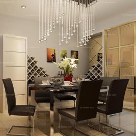 酒柜燈飾現代單身公寓餐廳餐桌餐椅璀璨的水晶吊燈照耀純黑色大理石餐臺效果圖欣賞