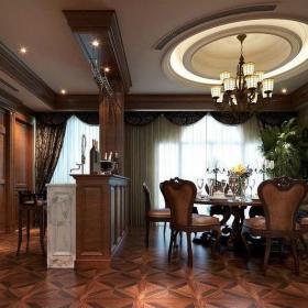 顺驰蓝调新古典时尚餐厅地面拼花装修设计效果图