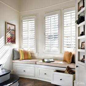 白色抱枕家居收納90㎡歐式風格時尚簡潔飄窗設計空間圖裝修效果圖