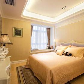 四居床头柜吊顶飘窗跃层224㎡四室两厅欧式风格大户型次卧室装修图片装修效果图