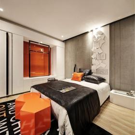 現代簡約三居室臥室窗簾裝修圖片效果圖