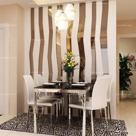 """隔断白色背景墙80㎡现代小户型简约""""白旋风餐厅玲珑剔透效果图大全"""