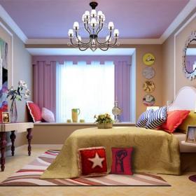 裝飾畫榻榻米地臺128㎡簡約歐式風格樣板房臥室墻面裝飾裝修效果圖簡約歐式風格床圖片