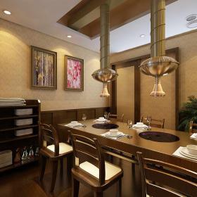 餐饮店餐桌餐椅工装餐台简约中式风格烤肉店装修效果图
