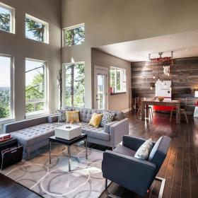 現代美式風格2018年別墅大氣咖啡色客廳隔斷造型設計圖效果圖