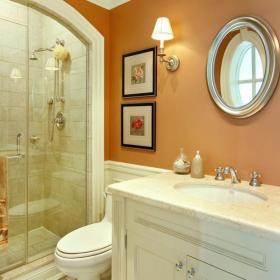橙色隔断淋浴房地中海90㎡淋浴房清?#38470;?#20928;的卫生间设计效果图