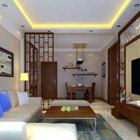 中式風格二居室客廳隔斷裝修效果圖