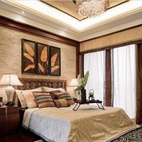 中式風格四居室臥室背景墻裝修效果圖大全